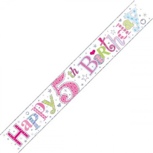 Age 5 Girl Foil Banner (9ft)
