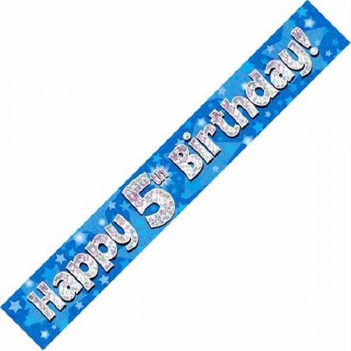 Blue 5th Birthday Foil Banner (9ft)