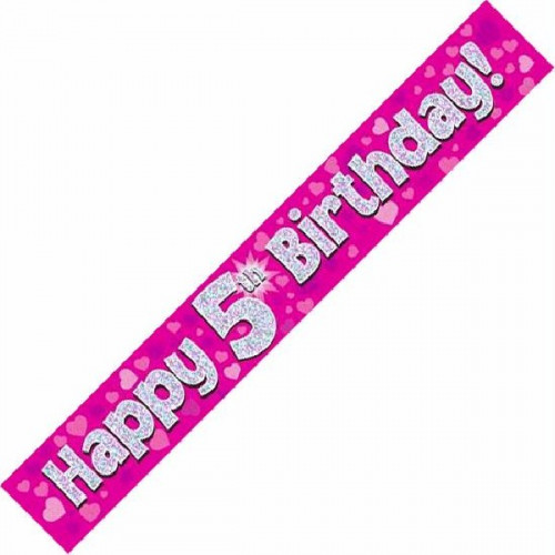 Pink 5th Birthday Foil Banner (9ft)