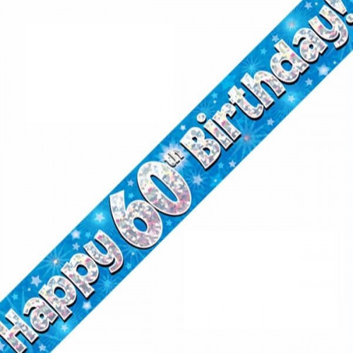 Blue 60th Birthday Foil Banner (9ft)