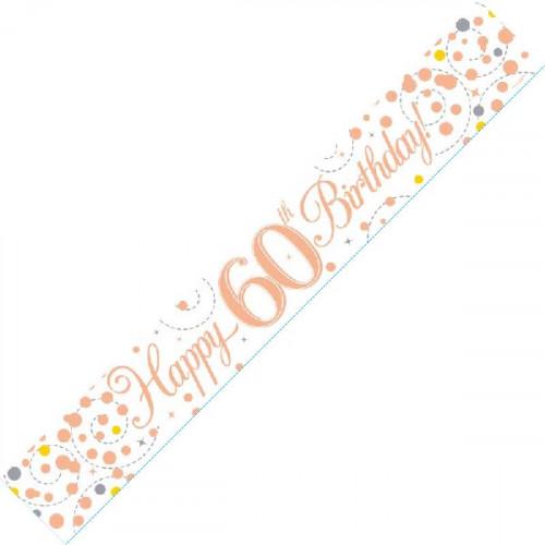 White & Rose Gold 60th Birthday Foil Banner (9ft)