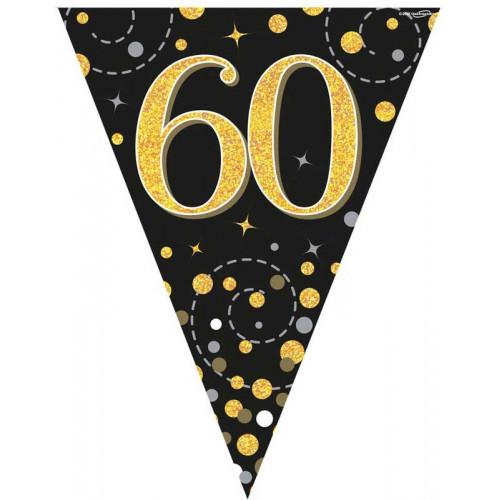 Black & Gold 60th Birthday Bunting