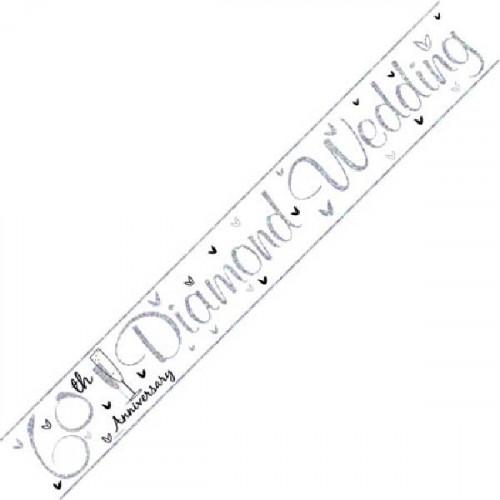 60th Diamond Wedding Anniversary Foil Banner (9ft)