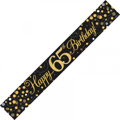 Black & Gold 65th Birthday Foil Banner (9ft)