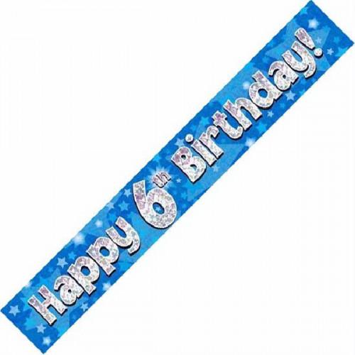 Blue 6th Birthday Foil Banner (9ft)