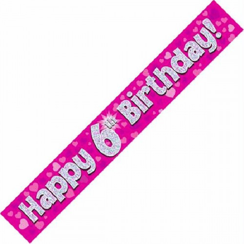 Pink 6th Birthday Foil Banner (9ft)