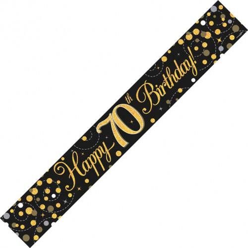 Black & Gold 70th Birthday Foil Banner (9ft)