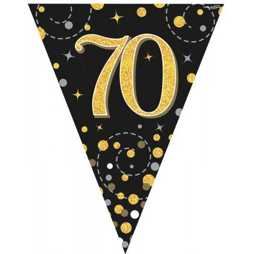 Black & Gold 70th Birthday Bunting