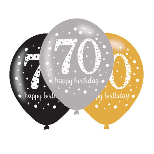 70th Birthday Latex Balloons (Pack of 6)