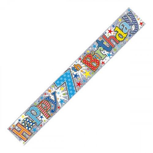 Age 7 Boy Foil Banner (9ft)