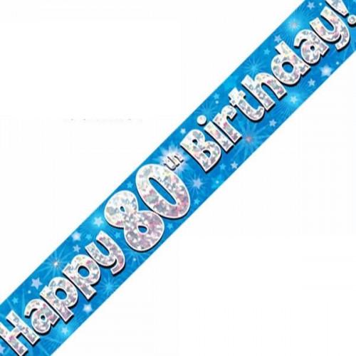 Blue 80th Birthday Foil Banner (9ft)
