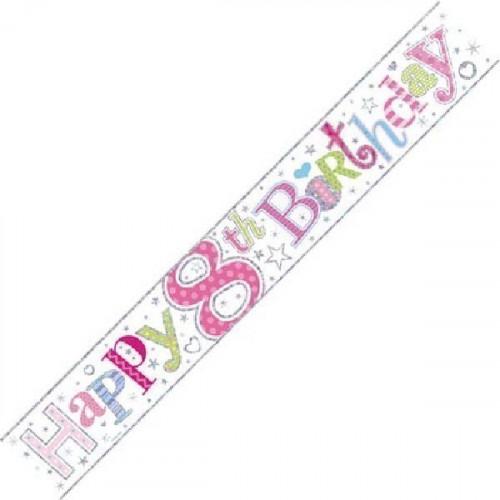 Age 8 Girl Foil Banner (9ft)
