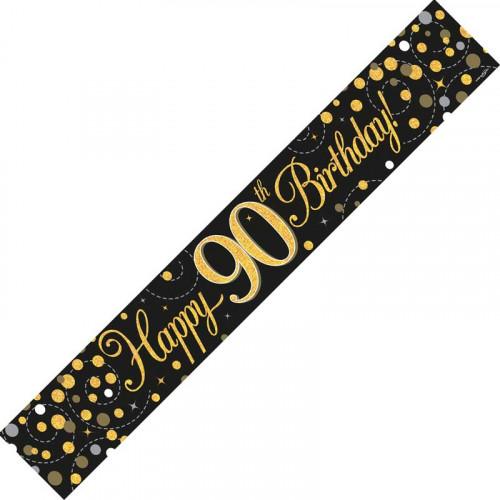 Black & Gold 90th Birthday Foil Banner (9ft)