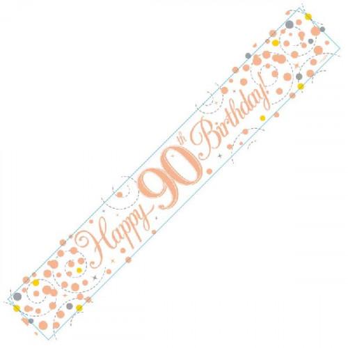 White & Rose Gold 90th Birthday Foil Banner (9ft)