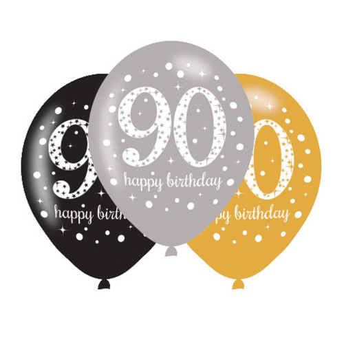 90th Birthday Latex Balloons (Pack of 6)