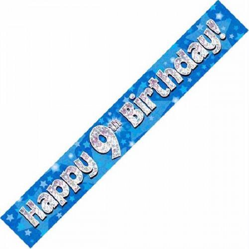 Blue 9th Birthday Foil Banner (9ft)