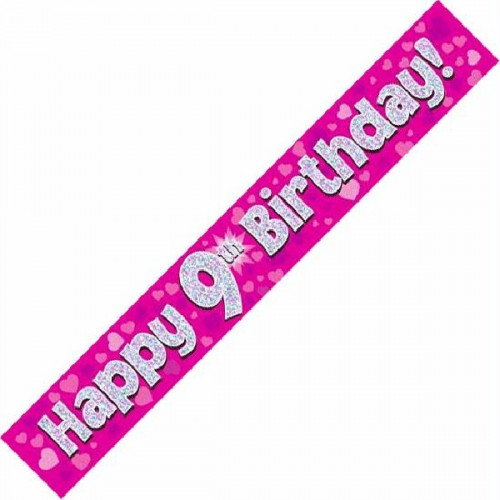 Pink 9th Birthday Foil Banner (9ft)