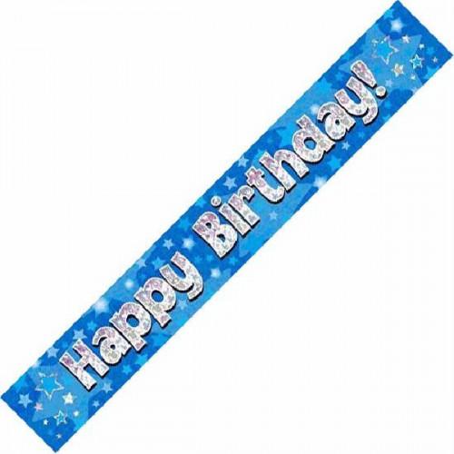 Blue Happy Birthday Foil Banner (9ft)