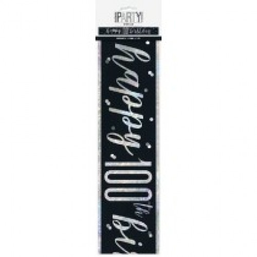 Glitz Black 100th Birthday Banner (9ft)