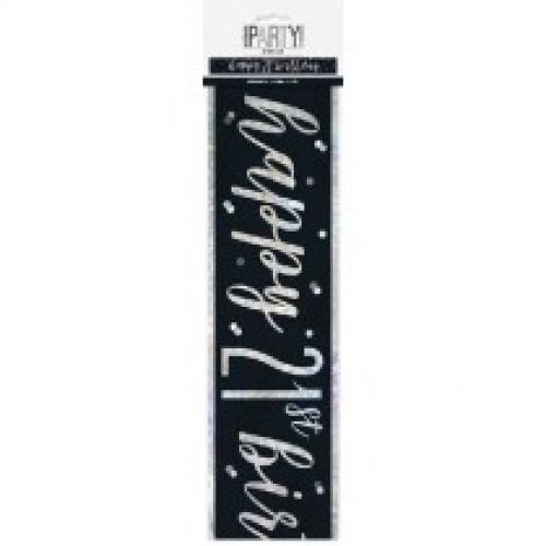 Glitz Black 21st Birthday Banner (9ft)