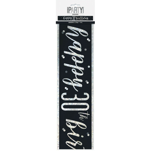 Glitz Black 30th Birthday Banner (9ft)