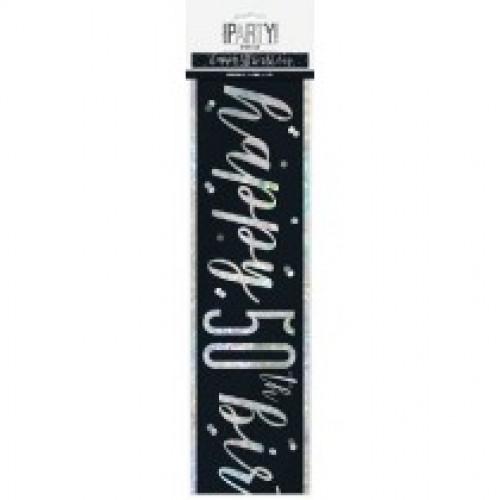 Glitz Black 50th Birthday Banner (9ft)