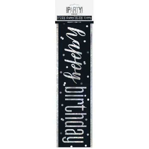 Glitz Black Happy Birthday Banner (9ft)