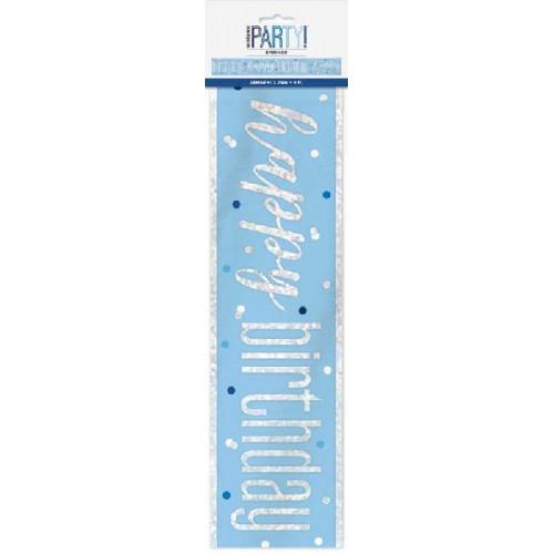 Glitz Blue Happy Birthday Banner (9ft)