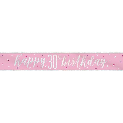 Glitz Pink 30th Birthday Banner (9ft)