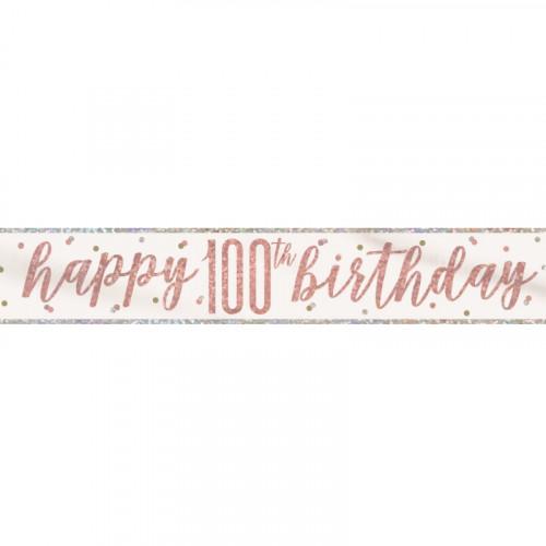 Glitz Rose Gold 100th Birthday Banner (9ft)