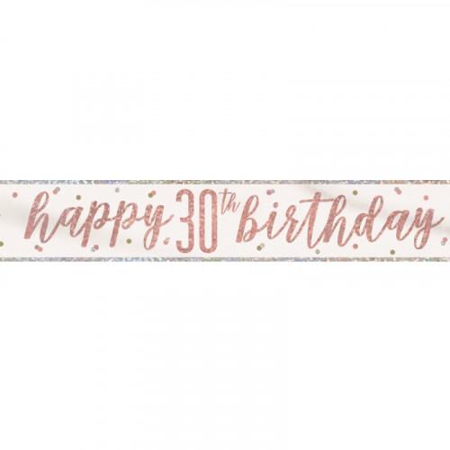 Glitz Rose Gold 30th Birthday Banner (9ft)