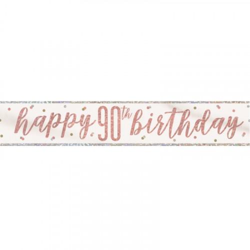 Glitz Rose Gold 90th Birthday Banner (9ft)