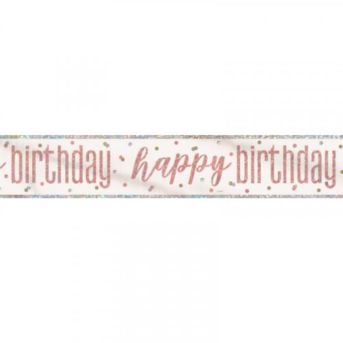 Glitz Rose Gold Happy Birthday Banner (9ft)