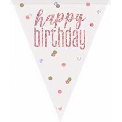 Glitz Rose Gold Happy Birthday Bunting