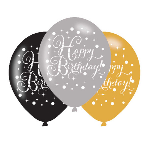 Happy Birthday Latex Balloons (Pack of 6)