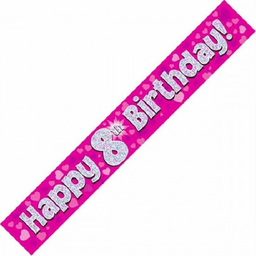 Pink 8th Birthday Foil Banner (9ft)