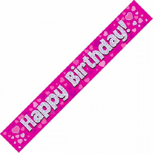 Pink Happy Birthday Foil Banner (9ft)