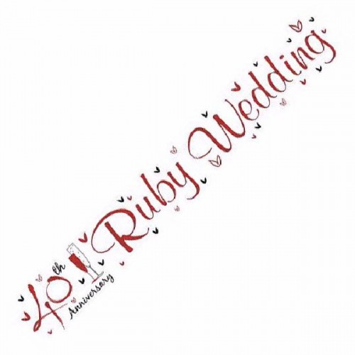 40th Ruby Wedding Anniversary Foil Banner (9ft)