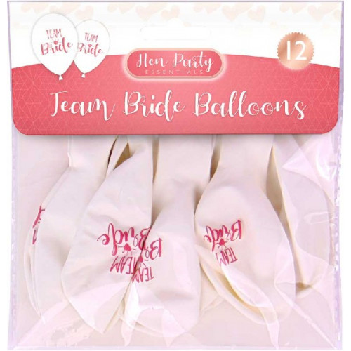 Team Bride Latex Balloons (Pack of 12)