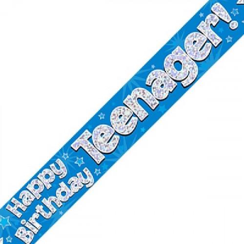 Blue Teenager Birthday Foil Banner (9ft)