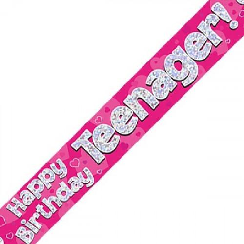 Pink Teenager Birthday Foil Banner (9ft)