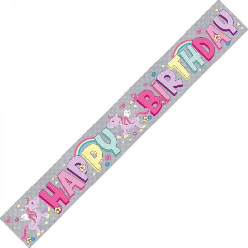 Unicorn Happy Birthday Banner (9ft)
