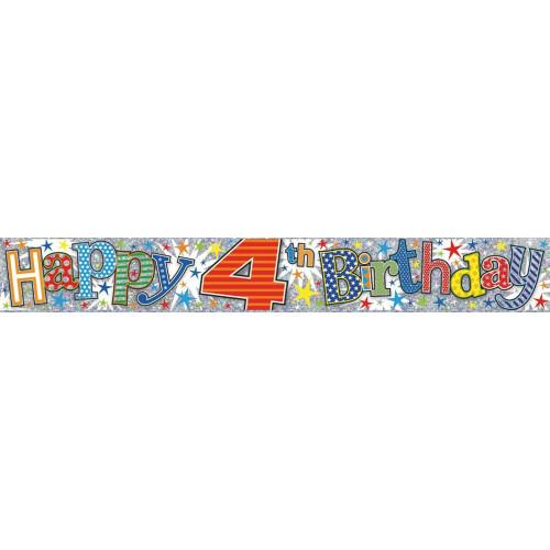 Age 4 Boy Foil Banner (9ft)