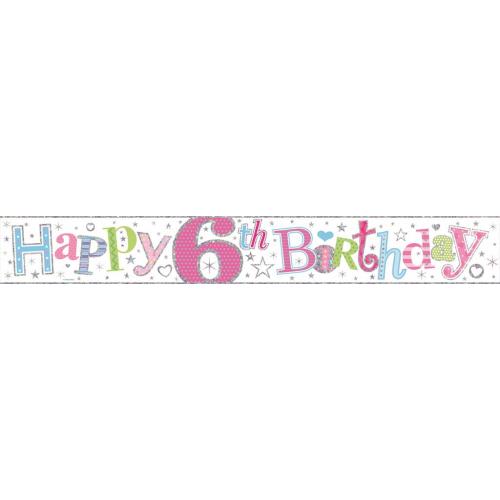 Age 6 Girl Foil Banner (9ft)