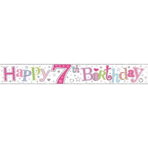 Age 7 Girl Foil Banner (9ft)
