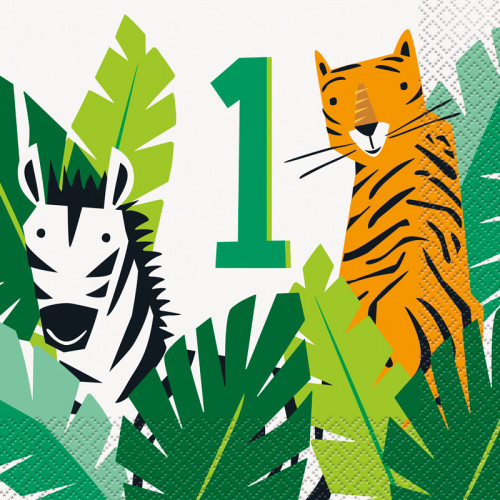 Animal Safari 1st Birthday Napkins (Pack of 16)