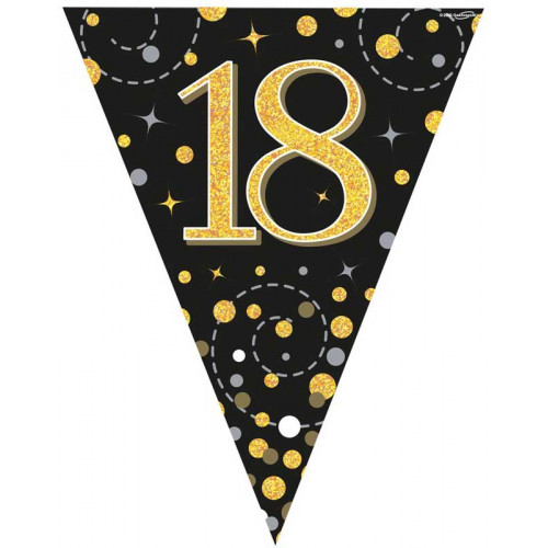 Black & Gold 18th Birthday Bunting
