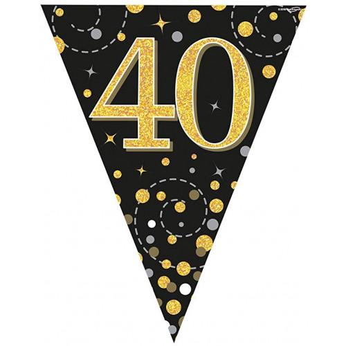 Black & Gold 40th Birthday Bunting
