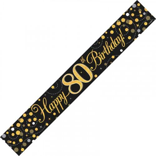 Black & Gold 80th Birthday Foil Banner (9ft)