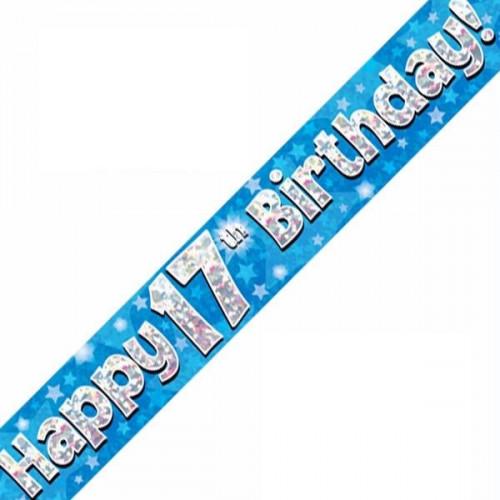 Blue 17th Birthday Foil Banner (9ft)